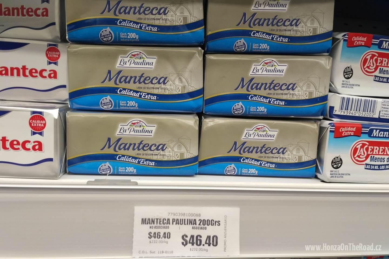 Máslo v argentinském supermarketu